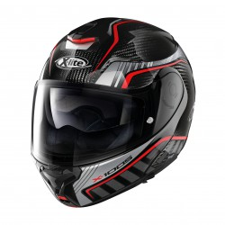 CASCO X-LITE X-1005 ULTRA CARBON CHEYENNE N-COM ARGENTO-ROSSO LUCIDO
